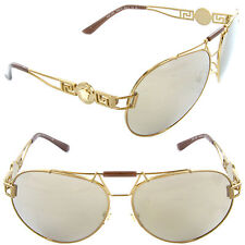 VERSACE Aviator Sunglasses VE 2160 1348/5A Bronze / Brown Mirror Gold Lens