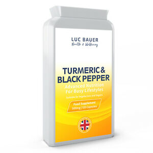 Turmeric 500mg with Black Pepper Extract - 120 Capsules - Reduced to Clear