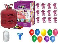Helium Tank+50 Balloons & White Ribbon+12 Pink Weights+Plus Balloon Tying Tool