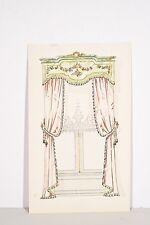 Petit pochoir déb. XX°Rideaux fenêtre, Tissu drapé rose, décoration