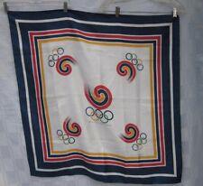 OLYMPIC GAMES XXIV Olympiad SCARF 1988 SEOUL SOUTH KOREA 33 x 34 Square Vintage