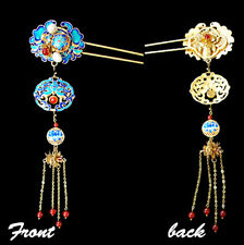 Exquisite Bluing Flowers with Precious Natural Stones Long Bell Purls Hair Pin