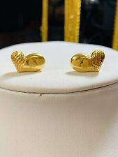 18K Saudi Yellow 750 Gold Women's Stud Heart Earring