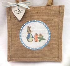 Personalised Handcrafted Peter Rabbit Beatrix Potter Mini Jute Gift Bag New Baby