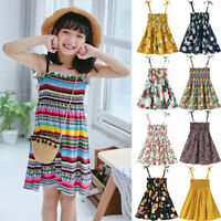 Toddler Baby Kids Girls Summer Floral Flowers Ruched Strap Princess Dress AU