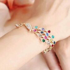 Charm Alloy Gold Peacock Girl Hot Jewelry Crystal Women Gift Bangle Bracelet