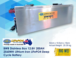 BWB Stainless Box 12V 200AH Lithium Iron LiFePO4 Deep Cycle Battery
