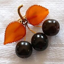 Baltic Amber Cherry Amber 14K Gold Plated Antique Brooch Signed