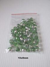 60pcs 10x8mm green/silver plate glass beads jewellery making craft UK