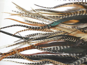 """100 5-10"""" NAT MIX WHITING GRIZZLY CREE ROOSTER SADDLE FEATHER HAIR EXTENSIONS"""