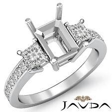 Diamond Engagement Fine 3 Stone Ring Princess Emerald Mount Platinum 950 0.8Ct