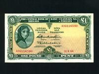 Ireland:P-64a,1 Pound,1964 * Lady Hazel Lavery * EF-AU *