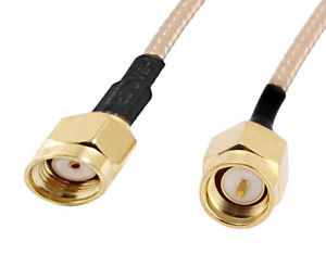 SMA male to RP-SMA male jack center straight RG316 cable jumper pigtail. 089