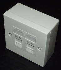 10x Cat5e UTP RJ45 Double Face Plate & BACKBOX (Dual Network 2 Port / Socket)