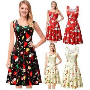 Xmas Women Christmas Swing Midi Dress Santa Print Flared Hepburn Party Dresses