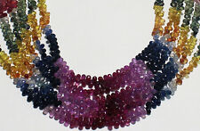 NATURAL GEMSTONE BEAUTIFUL MULTI SAPPHIRE BRIOLETTES FACETED DROPS STRAND 4002