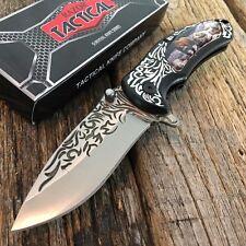 Razor Tactical Wildlife Bear Spring Assisted Open Pocket Knife Engraved Blade