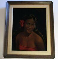 MARTIN ROGER PAINTING PORTRAIT TAHITI FEMALE WOMAN MODEL MID CENTURY ISLANDER