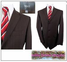 "Next wool & lycra Washable 2 piece mens suit Ch42""R W36"" L31"" Brown Pinstripe"