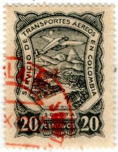 COLOMBIA - SCADTA - 20c USED STAMP IN GRAY-BLACK - Sc C41v - GEBAUER 65a 1925 RR