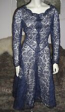 Vintage 50s Midnight Blue French Silk Chantilly Lace Party Prom Dress M-L NOS