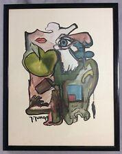 Expressionniste gouache signée Jungo circa 1979.
