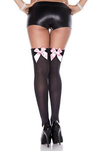 Over-The-Knee OPAQUE Thigh High STOCKINGS w/SATIN BOWS Socks SCHOOL GIRL OS