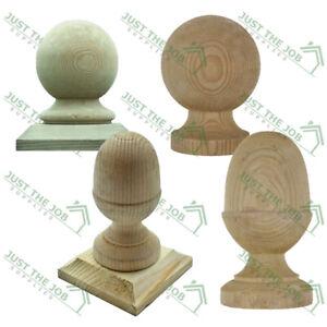 Wooden Treated Post Finial - Acorn Ball 50 75 100mm Brown & Green Post Cap DIY