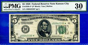 FR-1950-J* 1928 $5 FRN (( Kansas City STAR )) PMG Very-Fine 30 # J00042336*.