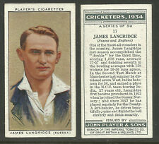 PLAYER'S 1934 CRICKETERS JAMES LANGRIDGE Card No 17 of 50 CRICKET CIGARETTE CARD