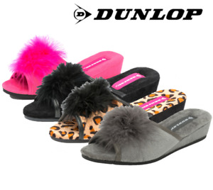 Ladies Dunlop Carla Sexy Heeled Peep Toe Rockabilly Pom Pom Wedge Mule Slipper