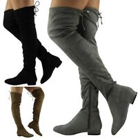 Womens Over The Knee Boots Ladies Thigh High Flat Slouch Faux Suede Shoes Size