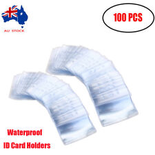 100pcs Plastic Horizontal ID Card Holder Clear Badge Name Tag Cover Waterproof