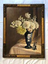 Oil Painting Old Gold Frame Flowers Still Life Edg. Lambert Belgium Um 1900