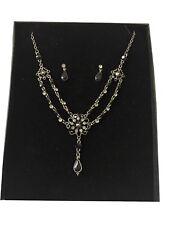 Austrian crystal black necklace set sparkly prom party smokey grey FREE GIFT BOX