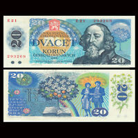Czechoslovakia 20 Korun Banknote, 1988, P-95, UNC, Europe Paper Money