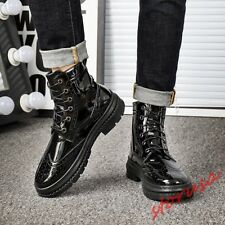 Men Patent Leather Vintage Wing Tip Riding Boots Lace Up High Top Knight Boots
