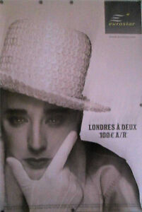 "Original Vintage French Poster Eurostar 2000'S BOY GEORGE  68 1/2"" X 46 3/4"""