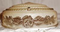 Vtg Art Deco 1 Light Shade Ceiling Light Fixture Pink with Embossed Rose Bouquet