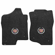 2007-2013 Cadillac Escalade EXT Ebony Black Floor Mats - Crest & Wreath Logo