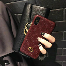 Luxury Wine Red GG Style Fashion Leather Phone Case For iPhone 6 7 8 Plus XS Max