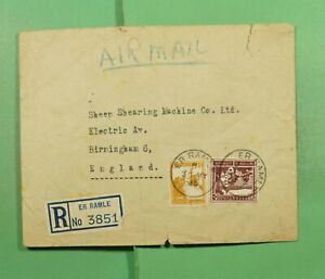 DR WHO 1945 PALESTINE ER RAMLE REGISTERED AIRMAIL TO ENGLAND  f83587