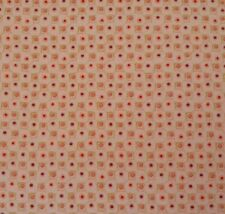 Mulberry Pips Dan Bennett BTY Rowan Coral Lime Red Squarish Dots on Light Tan