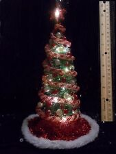 "NEW! 9-1/2"" LIGHTED DOLLHOUSE MINIATURES CHRISTMAS TREE 1:12 MID-CENTURY MODERN"