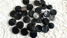"""New listing Vtg 31 Pc Lot Black Glass Buttons 7/8"""" - 1"""" Glass Or Metal Shanks #1"""