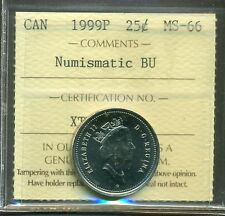 Test Token 1999P Canada Twenty Five cent Certified ICCS MS-66 NBU