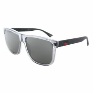 Gucci GG0010S 004 Transparent Grey Plastic Sunglasses Grey Polarized Lens
