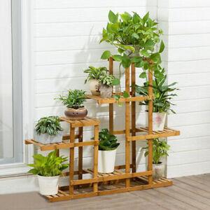 8 Tier Flower Rack Wood Plant Shelf Stand 13 Pots Bonsai Display Shelf Holder