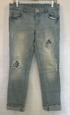 Guess Jeans Womens Sz 29 Sarah Destroyed Denim Straight Skinny Light Wash Jeans