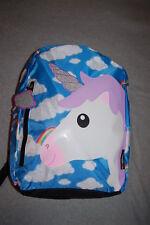 Girls Backpack Unicorn w/ Glitter Horn Blue Sky & Clouds Rainbow Emojination
